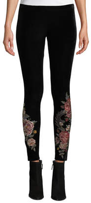 Johnny Was Dragon Stretch Velvet Leggings w/ Embroidery