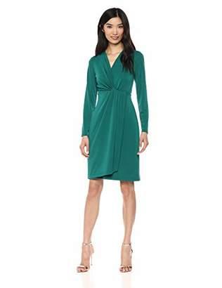 Lark & Ro Women's Long Sleeve Front-Twist Wrap Dress