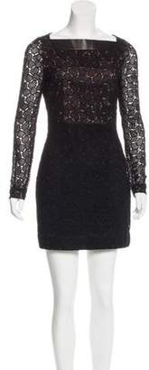 Diane von Furstenberg New Sarita Leather-Trimmed Dress Black New Sarita Leather-Trimmed Dress
