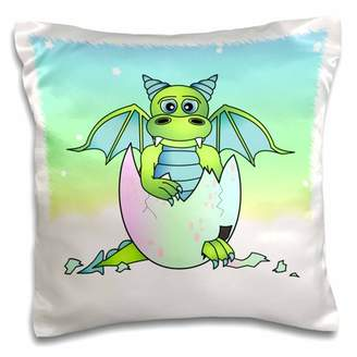 Green Baby 3dRose Dragon in Cracked Egg - Pillow Case, 16 by 16-inch