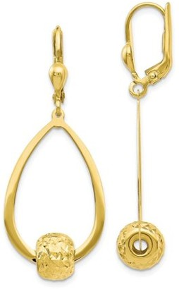 Primal Gold 10kt Gold Polished and Diamond-Cut Dangle Leverback Earrings