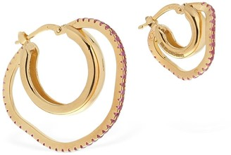 Cornelia Webb Asymmetric Pink Gemstone Hoop Earrings