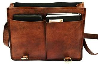"TOL (Amazon Private Brand) 15"" Twin Pocket Genuine Leather Briefcase Travel Bag Messenger Bag Vintage Style Leather Satchel School Women Office College Bag Laptop Document Business Carry Bag Handbag"