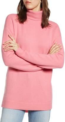 Halogen Turtleneck Wool Blend Tunic Sweater