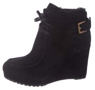 LK Bennett Suede Wedge Ankle Boots Black Suede Wedge Ankle Boots