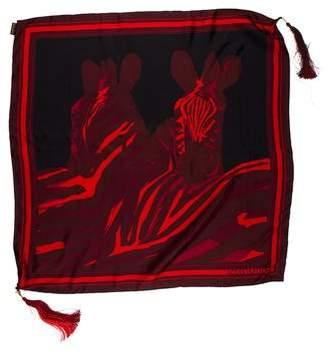 Louis Vuitton Zebra Silk Tassel Scarf