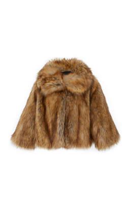 Nili Lotan Gold Faux Fox Fur Garbo Coat