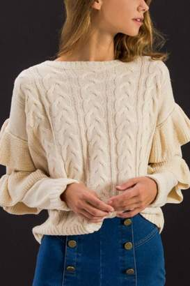 Flying Tomato Ruffled Sleeves Sweater