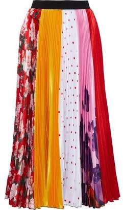 MSGM Plisse Printed Satin Midi Skirt