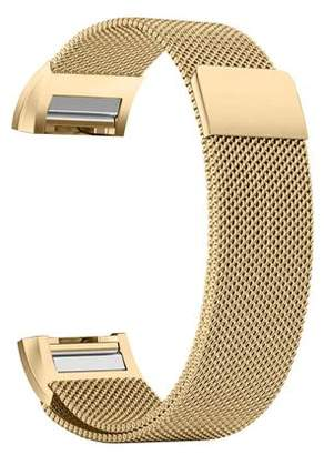 Fitbit iGK Charge 2 Bands Replacement Accessories Milanese Loop Stainless Steel Metal Bracelet Strap with Unique Magnet Lock for Charge 2 (Gold, Large)