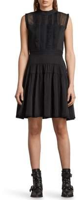 AllSaints Myra Dot Pintuck Dress