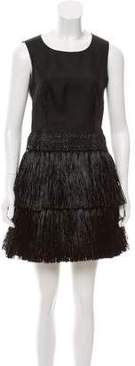 Prada Fringe-Trimmed Silk Dress