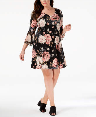 Connected Plus Size Printed Bell-Sleeve Dress