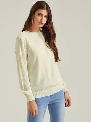 Shein Solid Cable Knit Sleeve Sweater