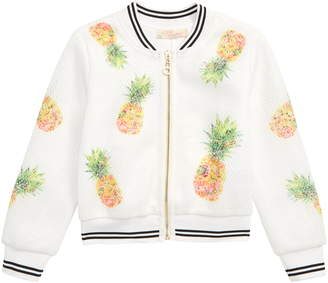 Truly Me Pineapple Mesh Bomber Jacket