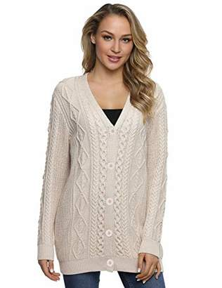 Lynz Pure Women's Cardigan Sweaters Long Sleeve Oversized Cable Sweater Coat S