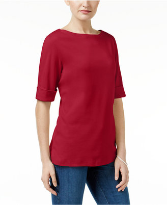 Karen Scott Elbow-Sleeve Boat-Neck Top, Only at Macy's $29.50 thestylecure.com