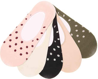 Kelly & Katie Polka Dot No Show Liners - 5 Pack - Women's