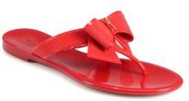 Salvatore Ferragamo Bali Jelly Embossed-Bow Thong Sandals