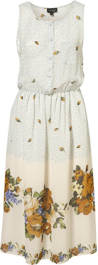 Border Flower Button Midi Dress