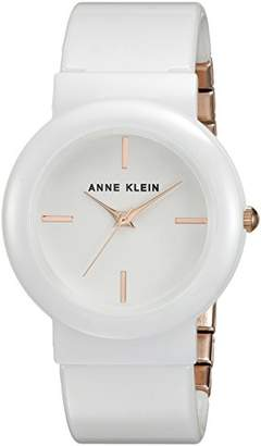 Anne Klein Women's AK/2834WTRG Rose Gold-Tone and White Ceramic Bangle Watch