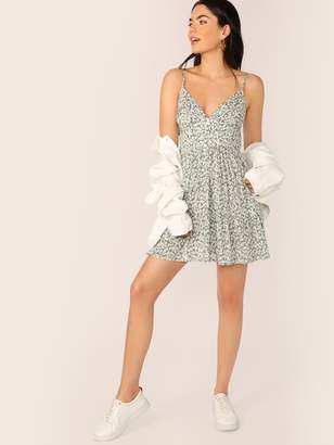 54dc058ce23b Shein Ditsy Floral Empire Waist Ruffle Hem Ruched Slip Dress