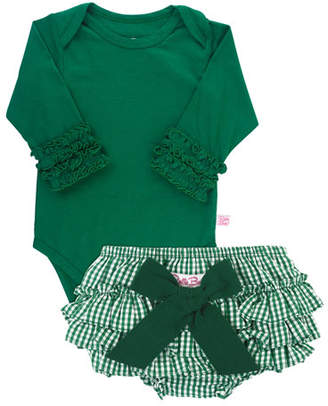 RuffleButts Girl's Ruffle Cuff Bodysuit w/ Gingham Bloomers, Size 0-24 Months