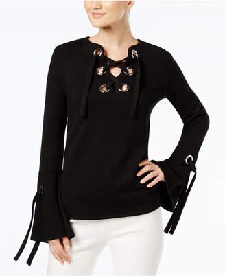 INC International Concepts I.n.c. Lace-Up Sweatshirt