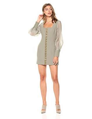 Finders Keepers findersKEEPERS Women's Advance Sheer Puff Sleeve Stretch Knit Fitted Mini Dress,L