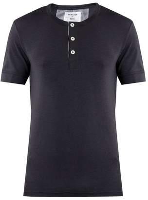 Hamilton And Hare - Short Sleeved Henley T Shirt - Mens - Navy
