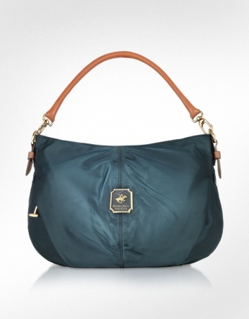 Beverly Hills Polo Club Nylon and Leather Convertible Hobo Bag