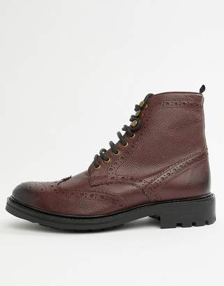 b983a176 Walk London Sean brogue boots in burgundy leather