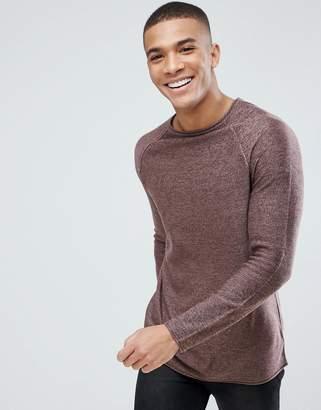 New Look Crew Neck Sweater In Burgundy