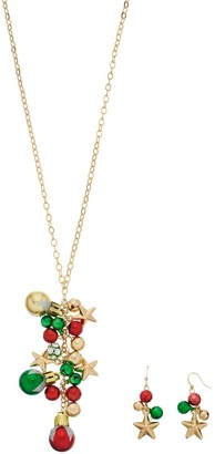 Christmas Ornament Y Necklace & Drop Earring Set