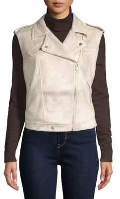 Jones New York Faux Suede Sleeveless Moto Jacket