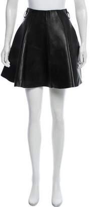 Longchamp Flared Leather Mini Skirt