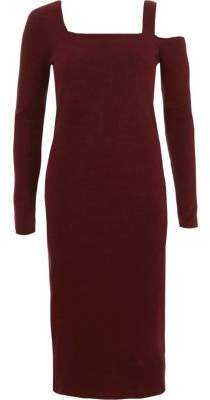 River Island Burgundy ribbed square neck bodycon dress