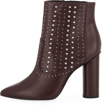 BCBGeneration Hollis Studded Faux-Leather Booties, Purple