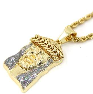 """Jo-Jo JoJo & Lin Mens Gold Tone Large Crowned Jesus Iced Out Pendant with 24"""" Rope Chain Gold Necklace for Men"""