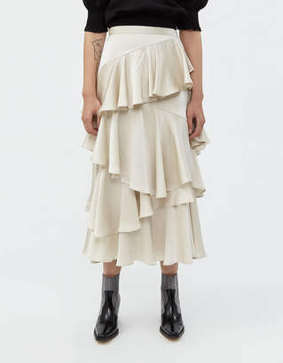 ALEXACHUNG Alexa Chung Long Tiered Ruffle Skirt in Champagne
