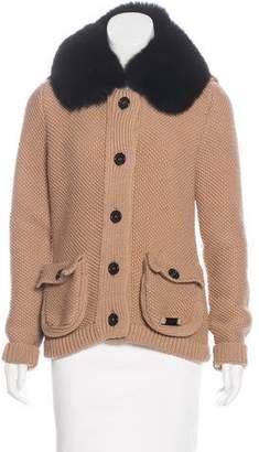 Burberry Fur-Trimmed Knit Jacket
