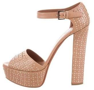 Alaia Leather Laser-Cut Sandals
