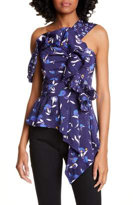 Self-Portrait Floral Asymmetrical Ruffle Peplum Top