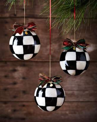 Mackenzie Childs MacKenzie-Childs Jester Fancy Large Christmas Ball Ornaments, Set of 3