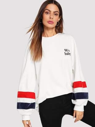 Shein Zip Side Striped Sleeve Sweatshirt