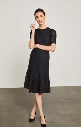 BCBGMAXAZRIA Lace-Trimmed Striped Dress