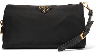 prada Prada - Textured Leather-trimmed Shell Cosmetics Case - Black