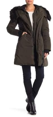 SAM. NOIZE Faux Fur Trim Contrast Faux Leather Jacket