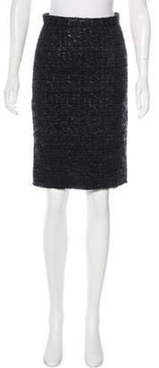 Dolce & Gabbana Metallic Tweed Knee-Length Skirt