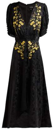 Saloni Lea Floral Embroidered Silk Dress - Womens - Black Gold